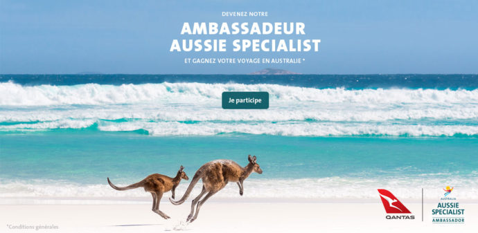 "<a href=""https://www.aussiespecialist.com/fr-fr/about/asp-ambassador-program.html?cid=online-media|fr|fr-ambassador-nov-18|ASP_brand_acquisition|PromoAGV |BlogPromo_1230x600_BeachRoo|become_the_aussie_specialist_ambassador|||||trade-media|||"" target=""_blank"">Gagnez votre voyage en Australie !</a>"